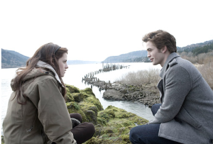 Scene from the movie, Twilight. With lead actors Kristen Stewart (Bella Swan) and Rob Pattinson (Edward Cullen).
