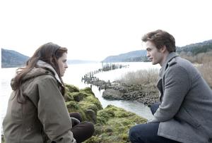 Scene from the movie, Twilight. With lead actors Kristen Stewart (Bella Swan) and Rob Pattinson (Edward Cullen).
